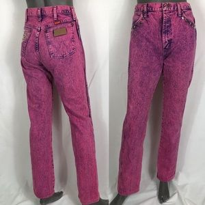 Wangler pink denim high waisted jean gold studs